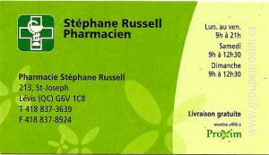 Pharmacie Stéphane Russell  -chanson $ 100 (Proxim)